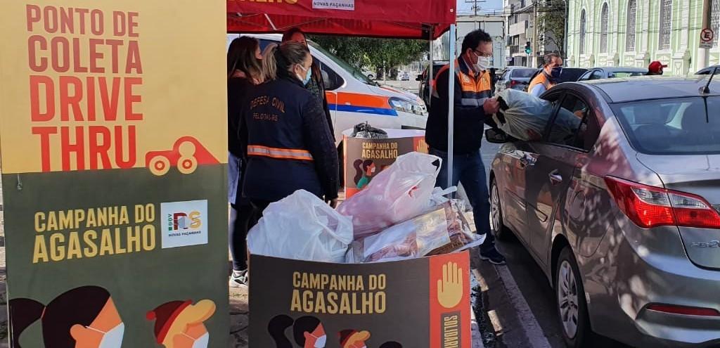 DRIVE-THRU DA CAMPANHA DO AGASALHO NO INTERIOR MOVIMENTA COMUNIDADE EM PELOTAS